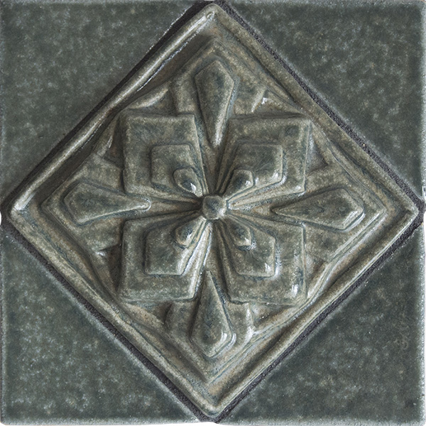 Geometric Flower Handmade Ceramic Accent Tile 3x3