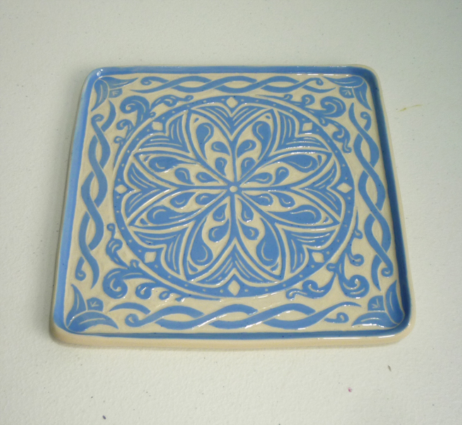sc 1 st  Blue Willow Studio & Square Sgraffito Plate