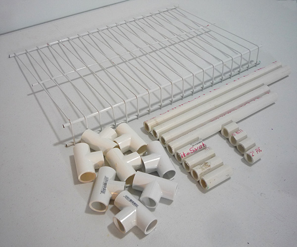Pieces For Assembling A Shelf Wire 1 PVC Tees Cut Lengths Of Pipe