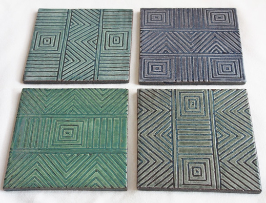 sgraffito coasters