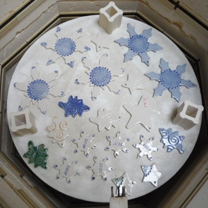 Kiln Shelf with Glazed Ornaments