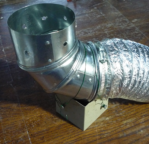 Failed attempt to attach kiln vent to kiln - support box of sheet metal