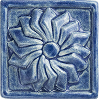 Pinwheel Flower Ceramic Tile - high relief 3x3