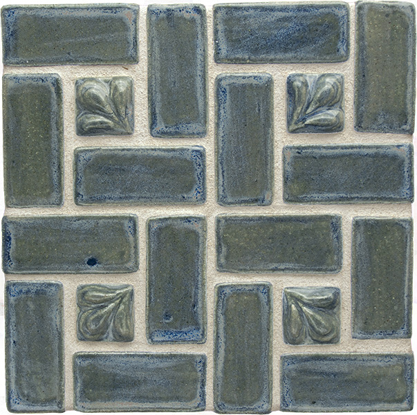 Blue Willow ceramic tiles grouted with light gray grout