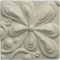 Seven Petal Flower Ceramic Tile - high relief (4x4)