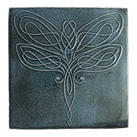 Dragonfly Knot Tile (5x5) - denim
