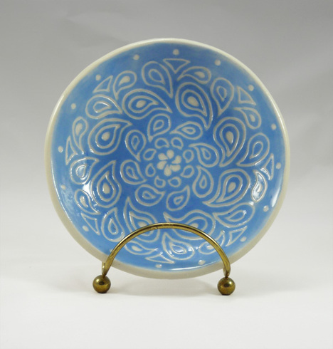 sgraffito bowl - light blue