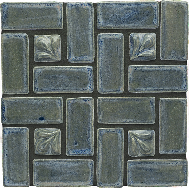 Blue Willow ceramic tiles grouted in charcoal gray