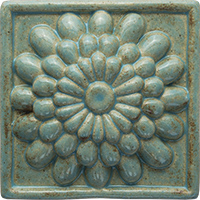 Zinnia ceramic tile - high relief (4x4)
