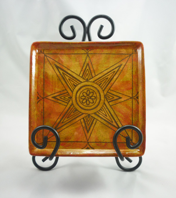 square sun sgraffito plate - red