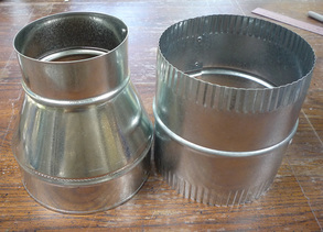 6-inch to 4-inch duct reducer and 6-inch duct connector