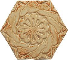 Hexagonal ceramic tile with high relief design from Blue Willow