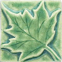 Maple leaf handmade ceramic accent tile from Blue Willow