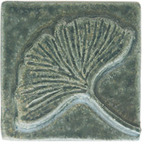 ginkgo leaf handmade ceramic accent tile from Blue Willow