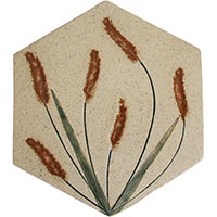 grass leaf handmade ceramic accent tile hexagonal from Blue Willow