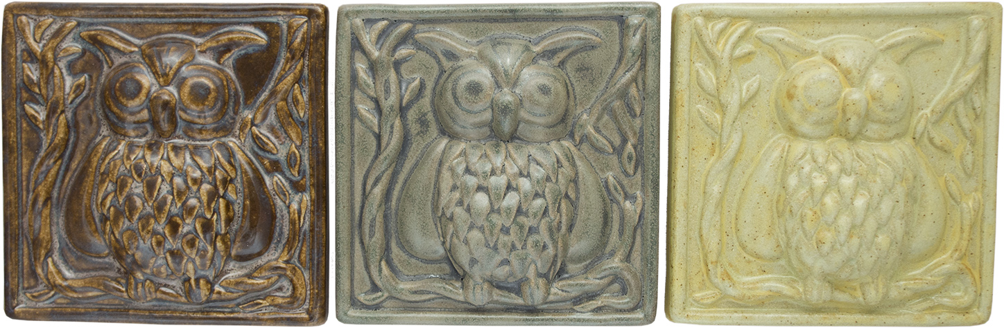 Owl Handmade Ceramic Accent Tile 5x5