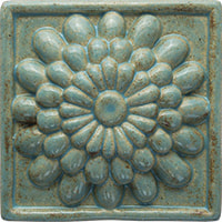 zinnia flower handmade ceramic accent tile