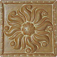 Sun Ceramic Tile - High Relief (8x8) - Blue Willow