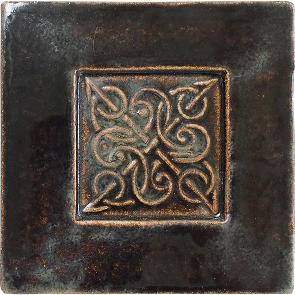 Celtic knot with border handmade ceramic accent tile